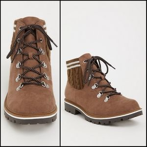 TORRID TAUPE KNIT HIKER BOOTS SIZE 10 WIDE